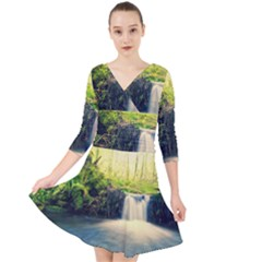 Waterfall River Nature Forest Quarter Sleeve Front Wrap Dress by Pakrebo