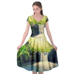Waterfall River Nature Forest Cap Sleeve Wrap Front Dress