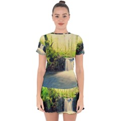 Waterfall River Nature Forest Drop Hem Mini Chiffon Dress