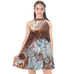 Paint Acrylic Paint Art Colorful Halter Neckline Chiffon Dress