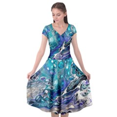 Paint Acrylic Paint Art Colorful Cap Sleeve Wrap Front Dress