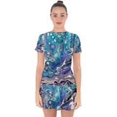 Paint Acrylic Paint Art Colorful Drop Hem Mini Chiffon Dress by Pakrebo