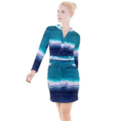 Color Acrylic Paint Art Painting Button Long Sleeve Dress