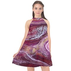 Paint Acrylic Paint Art Colorful Halter Neckline Chiffon Dress