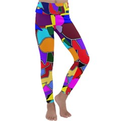 Crazycolorabstract Kids  Lightweight Velour Classic Yoga Leggings by bloomingvinedesign