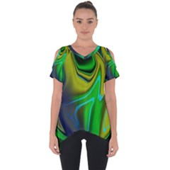 Green Blue Yellow Swirl Cut Out Side Drop Tee by bloomingvinedesign