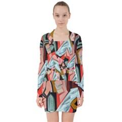 Reves Roses (pink Dreams) V Neck Bodycon Long Sleeve Dress by valvescovi