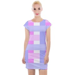Gingham Checkered Texture Pattern Cap Sleeve Bodycon Dress by Pakrebo