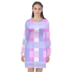 Gingham Checkered Texture Pattern Long Sleeve Chiffon Shift Dress  by Pakrebo