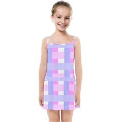 Gingham Checkered Texture Pattern Kids  Summer Sun Dress by Pakrebo