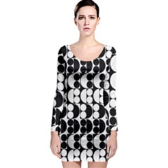 Seamless Pattern Wallpaper Long Sleeve Bodycon Dress