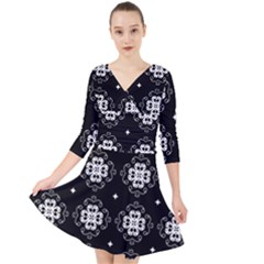 Ornament Flowers Seamless Geometric Quarter Sleeve Front Wrap Dress
