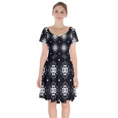 Ornament Flowers Seamless Geometric Short Sleeve Bardot Dress