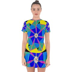 Mandala Wheel Pattern Ornament Drop Hem Mini Chiffon Dress
