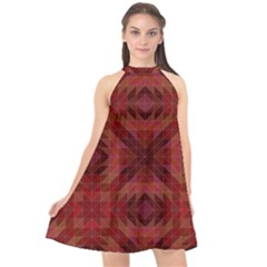 Maroon Triangle Pattern Seamless Halter Neckline Chiffon Dress