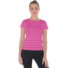 Abstract Background Card Decoration Pink Short Sleeve Sports Top  by Pakrebo
