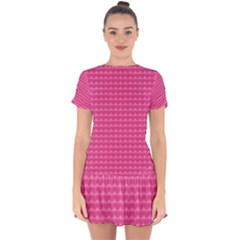 Abstract Background Card Decoration Pink Drop Hem Mini Chiffon Dress by Pakrebo