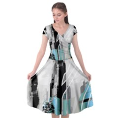 The City Of The Future Collage Cap Sleeve Wrap Front Dress