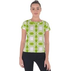 Seamless Wallpaper Background Green White Short Sleeve Sports Top  by Pakrebo