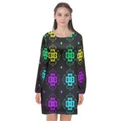 Seamless Pattern Design Ornament Long Sleeve Chiffon Shift Dress