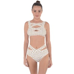 Graphic Mughal Pattern Jali Jaali Bandaged Up Bikini Set  by Pakrebo