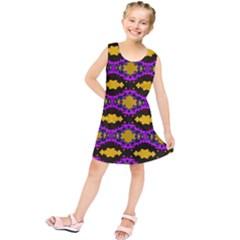 Seamless Wallpaper Digital Pattern Yellow Brown Purple Kids  Tunic Dress