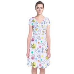 Summer Pattern Design Colorful Short Sleeve Front Wrap Dress