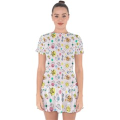 Summer Pattern Design Colorful Drop Hem Mini Chiffon Dress by Pakrebo