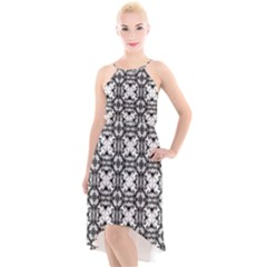 Seamless Wallpaper Pattern Ornamen Black White High Low Halter Chiffon Dress