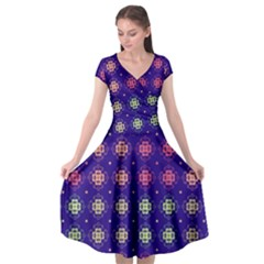 Flowers Pattern Ornament Symmetry Cap Sleeve Wrap Front Dress