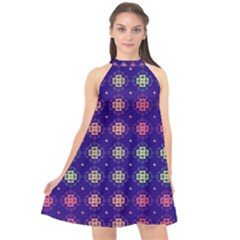 Flowers Pattern Ornament Symmetry Halter Neckline Chiffon Dress  by Pakrebo
