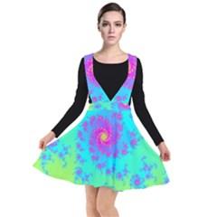 Spiral Fractal Abstract Pattern Plunge Pinafore Dress by Pakrebo