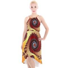 Fractal Rendering Spiral Twist High Low Halter Chiffon Dress