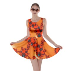 Fractal Rendering Spiral Curve Orange Skater Dress