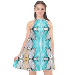Seamless Wallpaper Pattern Symmetry Art Halter Neckline Chiffon Dress