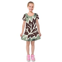 Drawing Autumn Leaves Season Kids  Short Sleeve Velvet Dress