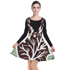 Drawing Autumn Leaves Season Plunge Pinafore Dress
