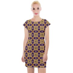 Seamless Wallpaper Pattern Ornament Vintage Cap Sleeve Bodycon Dress