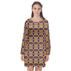 Seamless Wallpaper Pattern Ornament Vintage Long Sleeve Chiffon Shift Dress