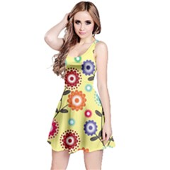 Colourful Flowers Spring Summer Floral Pattern Reversible Sleeveless Dress by InspiredImages