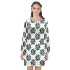 Graphic Pattern Flowers Long Sleeve Chiffon Shift Dress