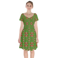 Seamless Wallpaper Digital Art Green Red Short Sleeve Bardot Dress