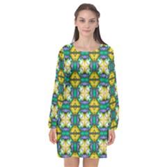 Seamless Wallpaper Pattern Symmetry Long Sleeve Chiffon Shift Dress  by Pakrebo