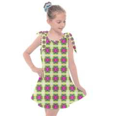Seamless Geometric Blur Lines Kids  Tie Up Tunic Dress by Pakrebo