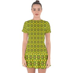 Seamless Wallpaper Pattern Ornament Drop Hem Mini Chiffon Dress