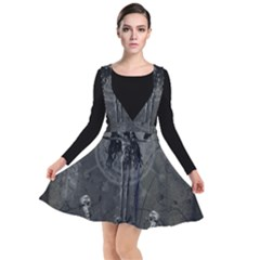 Awesome Crow Skeleton With Skulls Plunge Pinafore Dress by FantasyWorld7