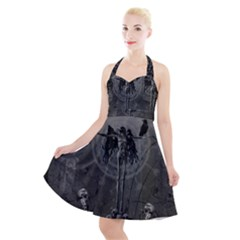 Awesome Crow Skeleton With Skulls Halter Party Swing Dress  by FantasyWorld7
