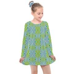 Seamless Pattern Ornament Design Kids  Long Sleeve Dress by Pakrebo