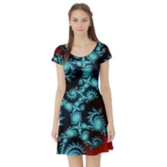 Fractal Spiral Abstract Pattern Art Short Sleeve Skater Dress