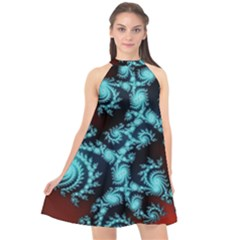 Fractal Spiral Abstract Pattern Art Halter Neckline Chiffon Dress
